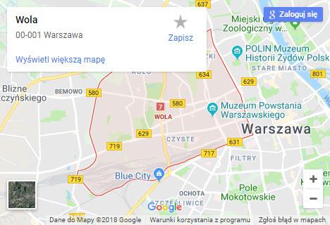 Mapa Google hydraulik Warszawa Wola